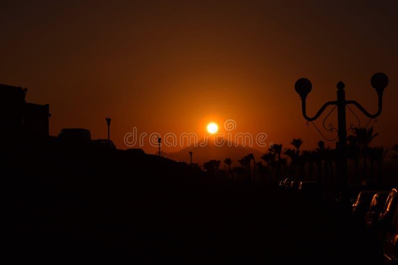 Puesta del sol egipcia fotografía de archivo