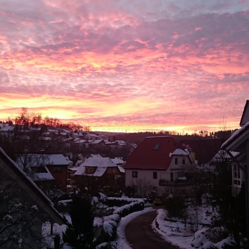 Puesta del sol en Alemania imagen de archivo