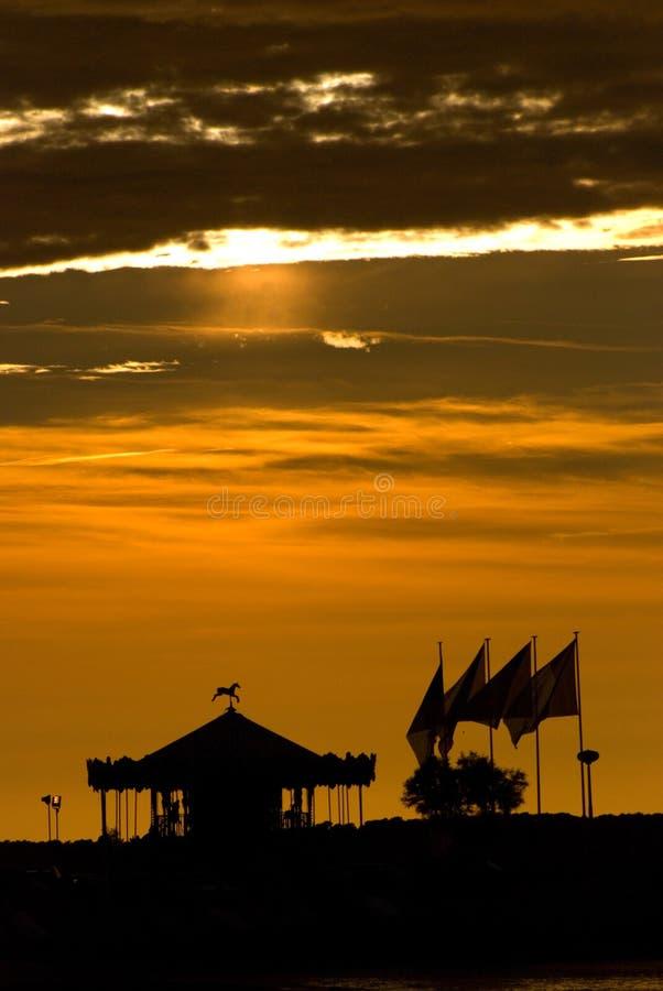 Puesta del sol en Arcachon fotos de archivo