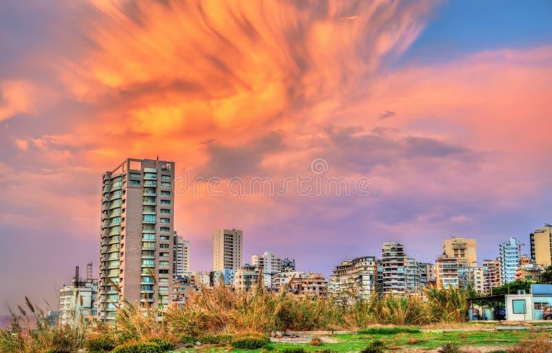 Puesta del sol en Beirut en Líbano imágenes de archivo libres de regalías