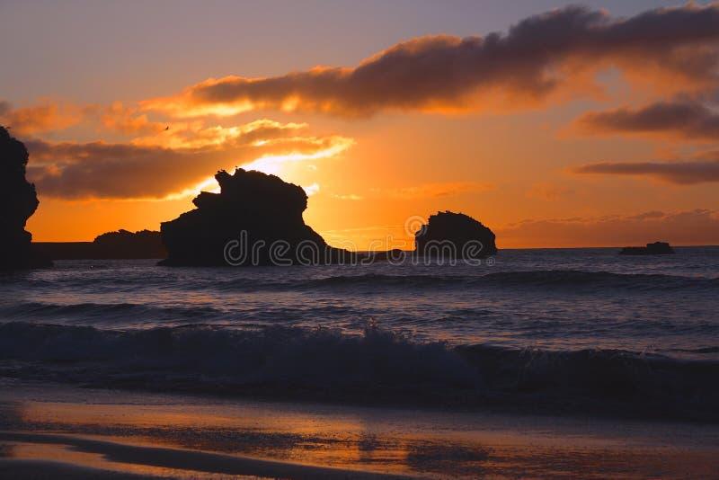 Puesta del sol en Biarritz fotografía de archivo libre de regalías
