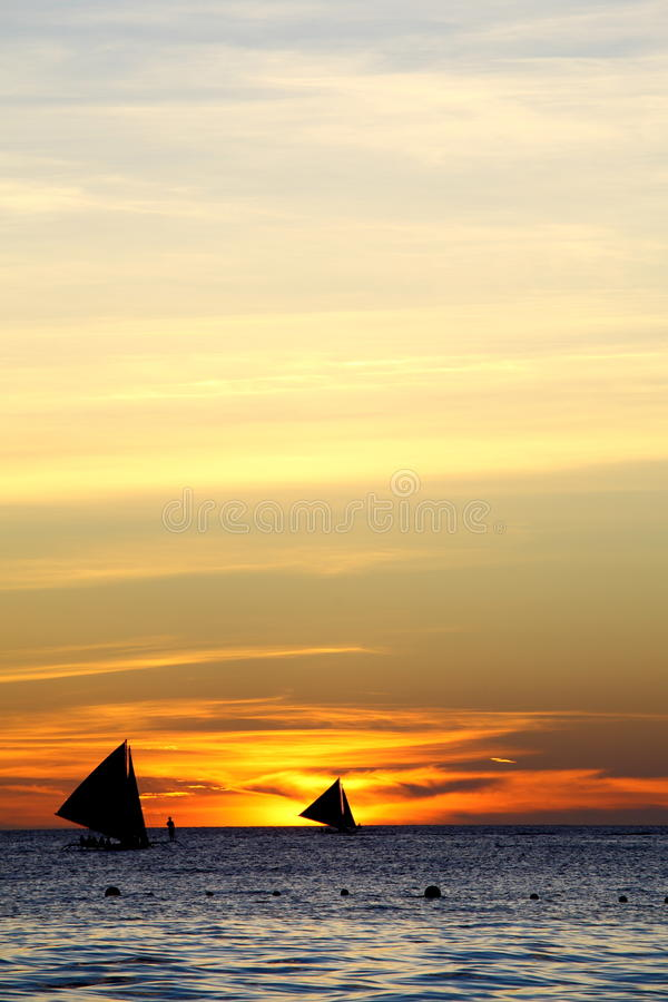 Puesta del sol en Boracay fotos de archivo