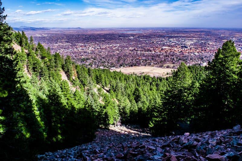Puesta del sol en Boulder, Colorado imagen de archivo