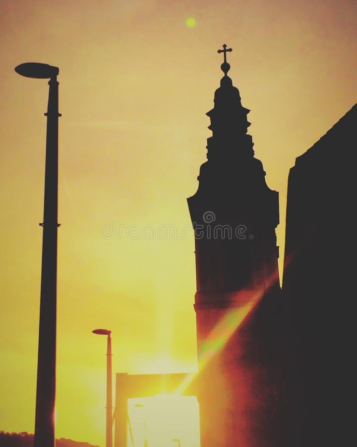 Puesta del sol en Budapest imagen de archivo libre de regalías