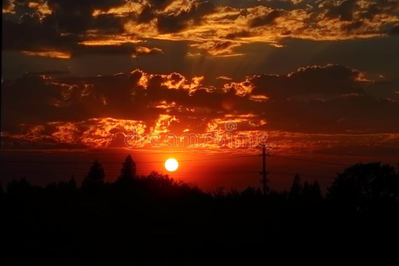 Puesta del sol en Cameron Park, CA fotos de archivo libres de regalías