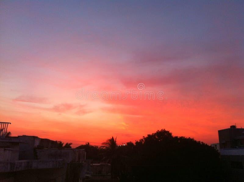 Puesta del sol en Chennai foto de archivo
