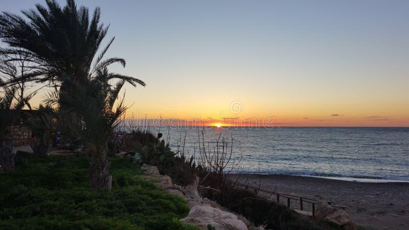 Puesta del sol en Chipre foto de archivo libre de regalías