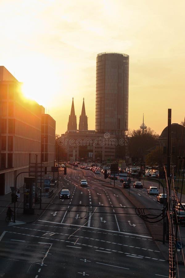 Puesta del sol en Colonia fotos de archivo libres de regalías
