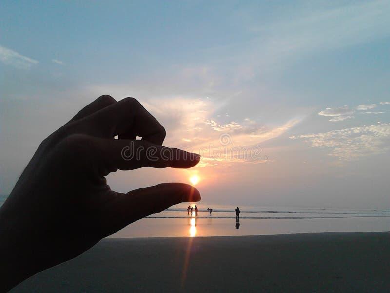 Puesta del sol en Cox's Bazar imagen de archivo