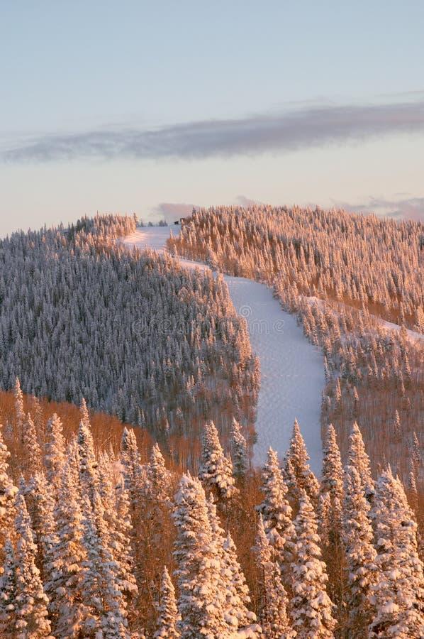 Puesta del sol en cuestas del esquí en el invierno foto de archivo