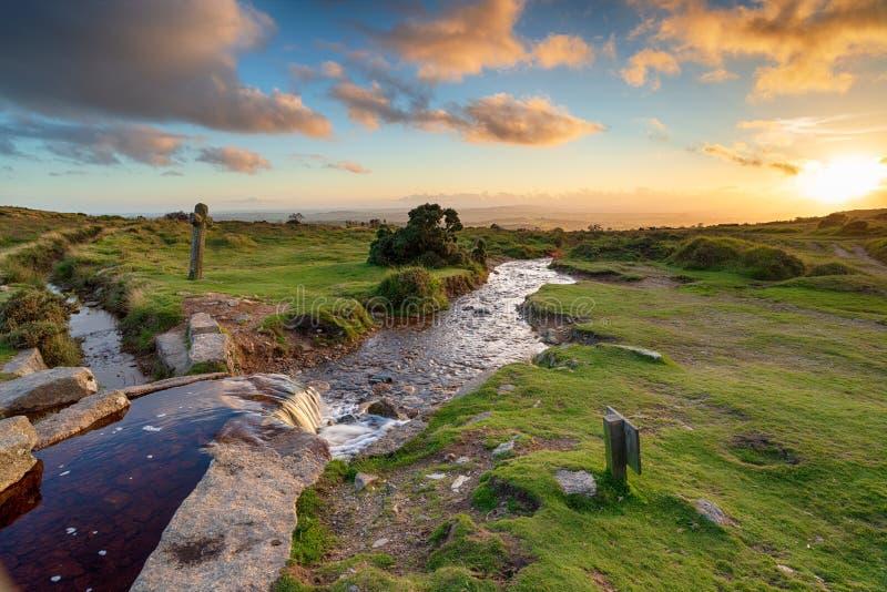 Puesta del sol en Dartmoor foto de archivo libre de regalías