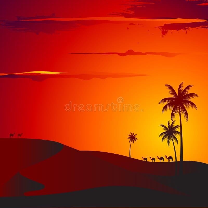 Puesta del sol en desierto stock de ilustración