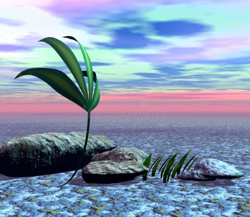 Puesta del sol en desierto ilustración del vector