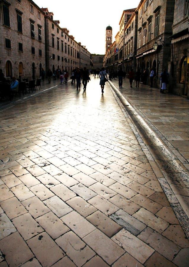 Puesta del sol en Dubrovnik fotografía de archivo libre de regalías