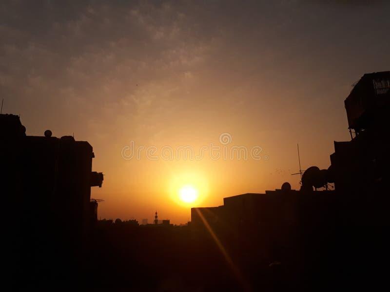 Puesta del sol en Egipto imagenes de archivo