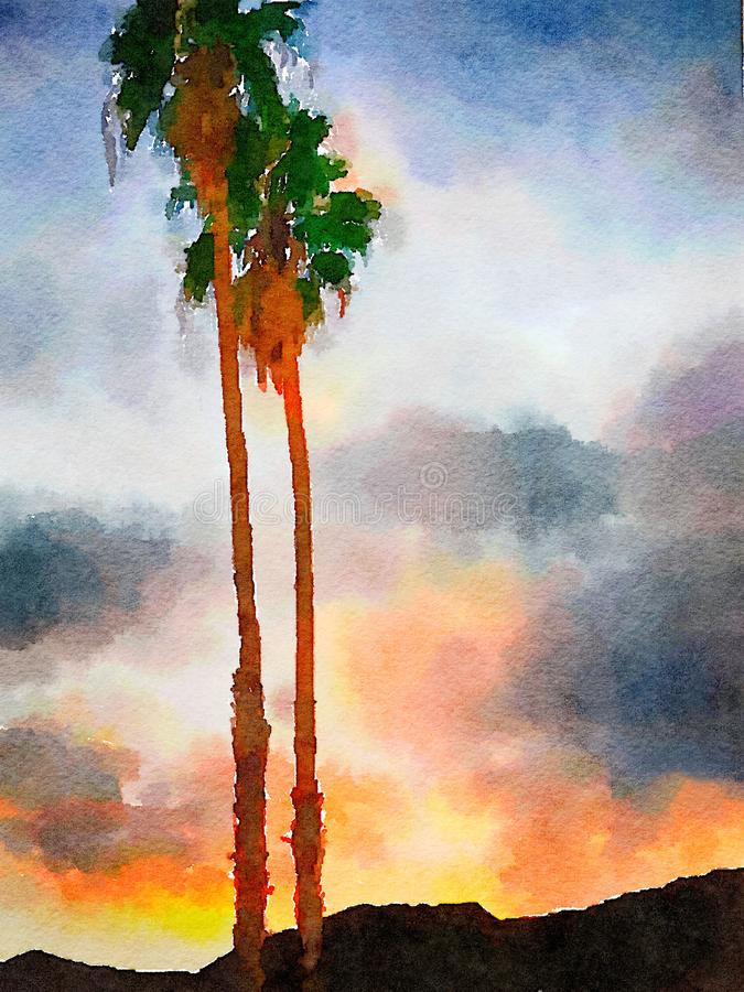 Puesta del sol en el desierto ilustración del vector