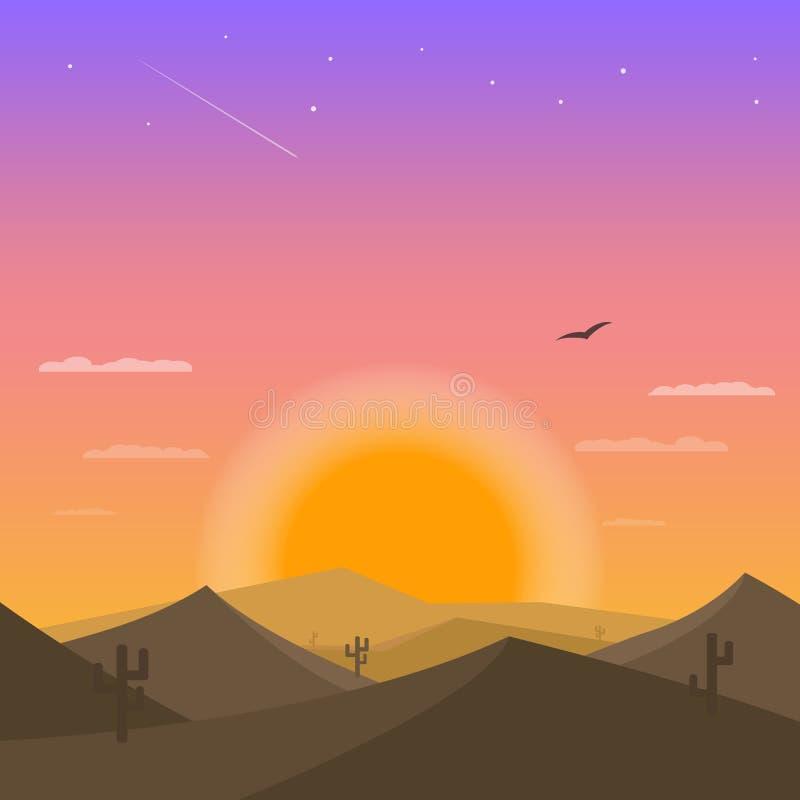 Puesta del sol en el desierto Cactus y arenas del desierto ilustración del vector
