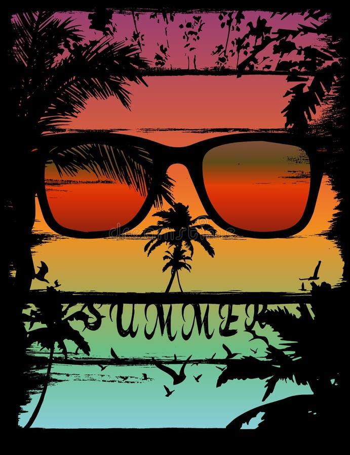 Puesta del sol en el efecto tropical del cráneo de la playa ilustración del vector