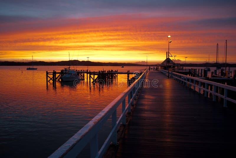 Puesta del sol en el embarcadero de Russell fotografía de archivo libre de regalías