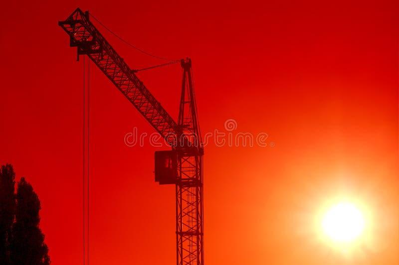 Puesta del sol en el emplazamiento de la obra fotos de archivo