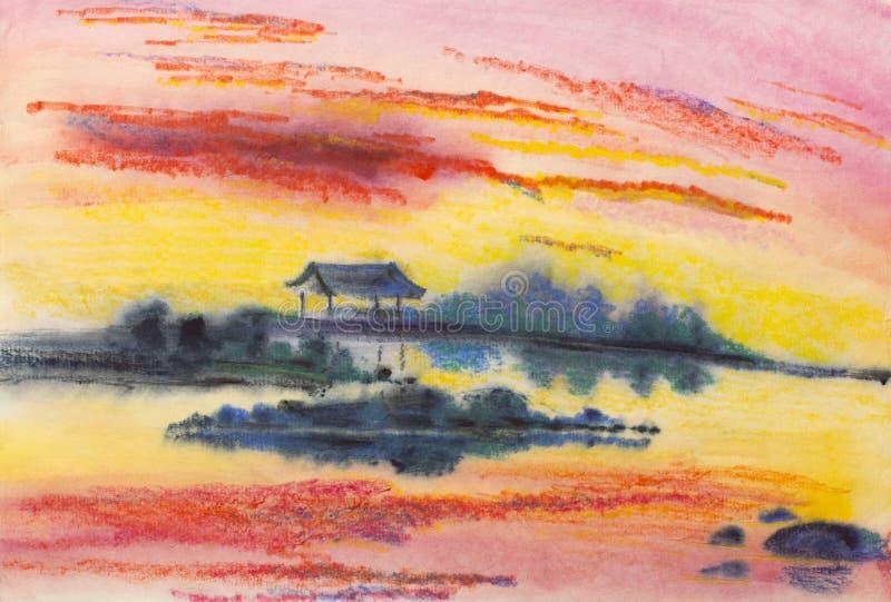 Puesta del sol en el este libre illustration