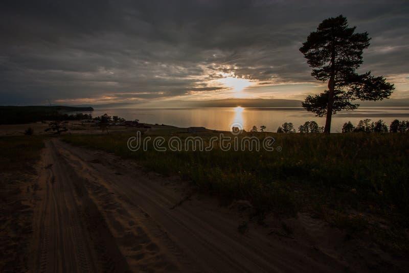 Puesta del sol en el lago con un árbol y un camino arenoso imágenes de archivo libres de regalías