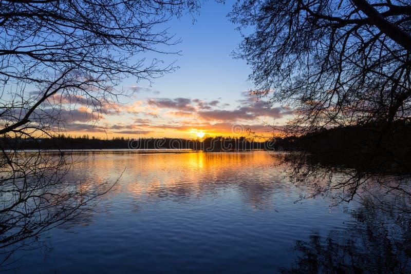 Puesta del sol en el lago en invierno foto de archivo