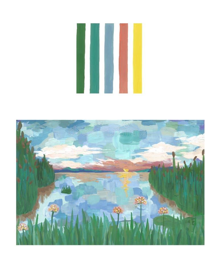 Puesta del sol en el lago, fondo hecho a mano del paisaje del arte, paleta libre illustration