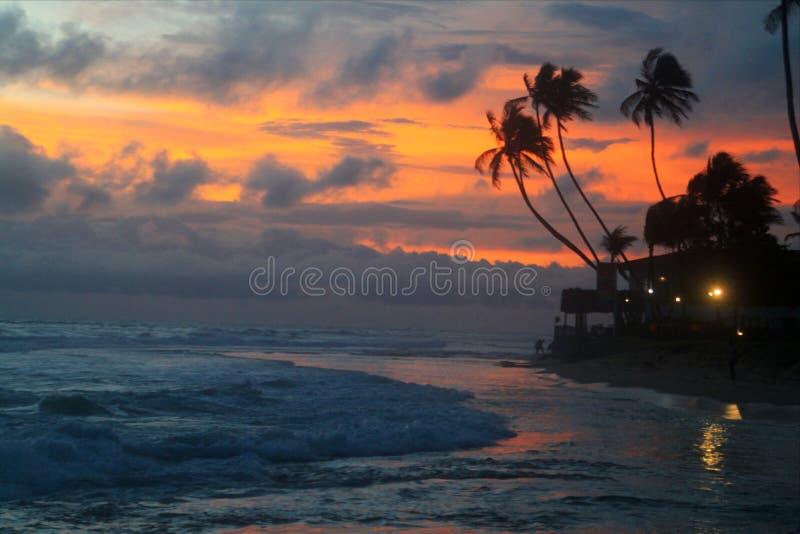 Puesta del sol en el mar del Caribe Paradise fotografía de archivo libre de regalías