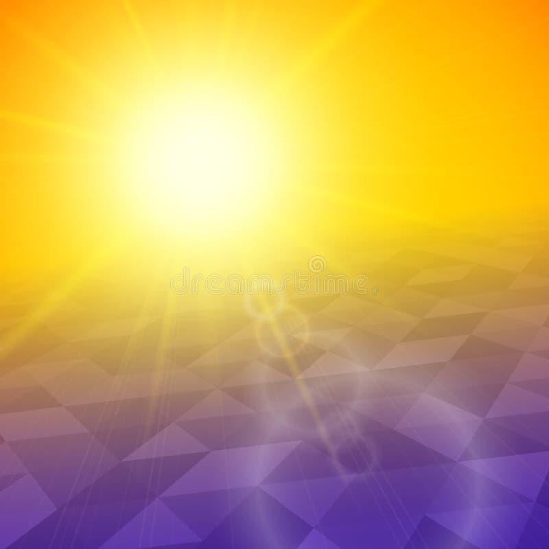 Puesta del sol en el mar, horizonte con el sol del verano ilustración del vector
