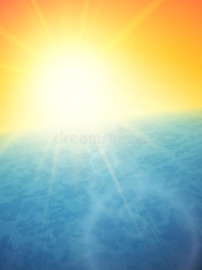 Puesta del sol en el mar, horizonte con el sol del verano libre illustration