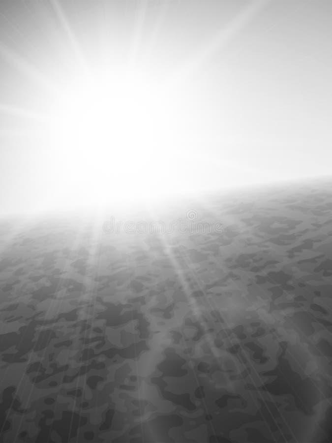 Puesta del sol en el mar, horizonte con el sol del verano stock de ilustración