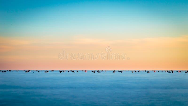 Puesta del sol en el mar, Trieste foto de archivo