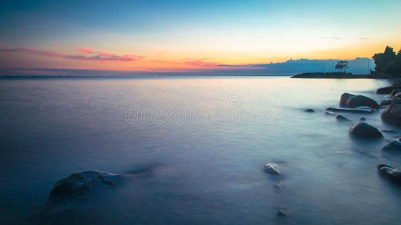Puesta del sol en el mar, Trieste imagen de archivo libre de regalías