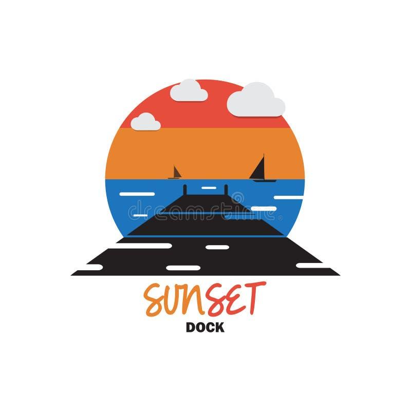 Puesta del sol en el muelle para el lugar hermoso stock de ilustración