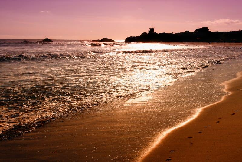 Puesta del sol en el Océano Pacífico en California fotografía de archivo libre de regalías