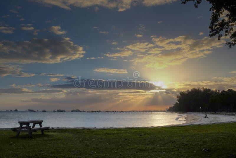 Puesta del sol en el parque de la costa este imagen de archivo libre de regalías