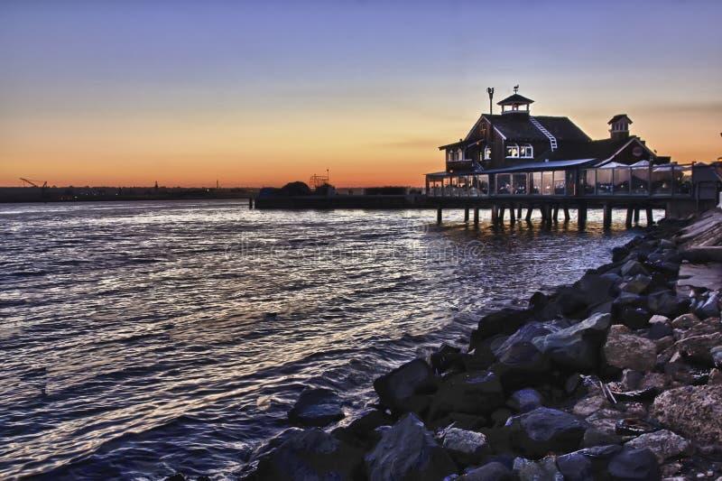 Puesta del sol en el puerto de San Diego imagen de archivo libre de regalías