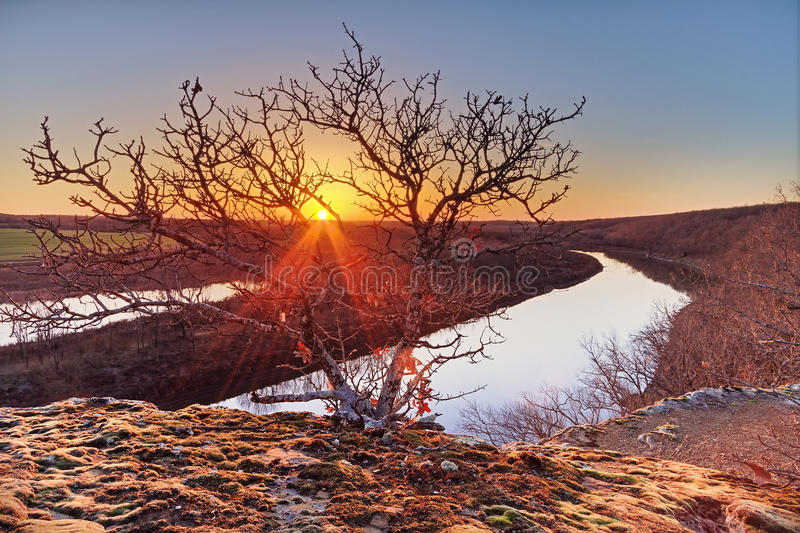 Puesta del sol en el río Osage foto de archivo