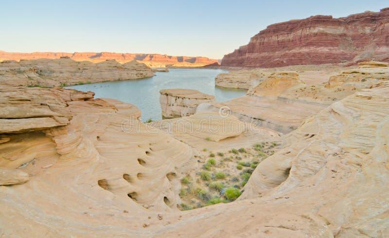 Puesta del sol en el río sucio del diablo en Glen Canyon, UT fotos de archivo libres de regalías