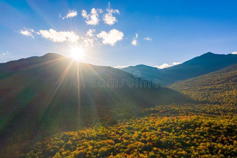 Puesta del sol en el soporte Washington, New Hampshire fotografía de archivo