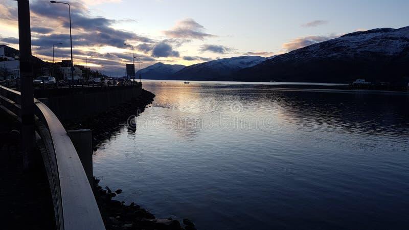 Puesta del sol en Escocia imagen de archivo libre de regalías