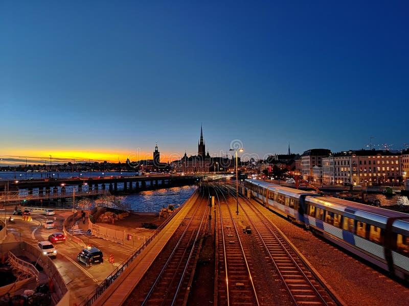 Puesta del sol en Estocolmo fotografía de archivo libre de regalías