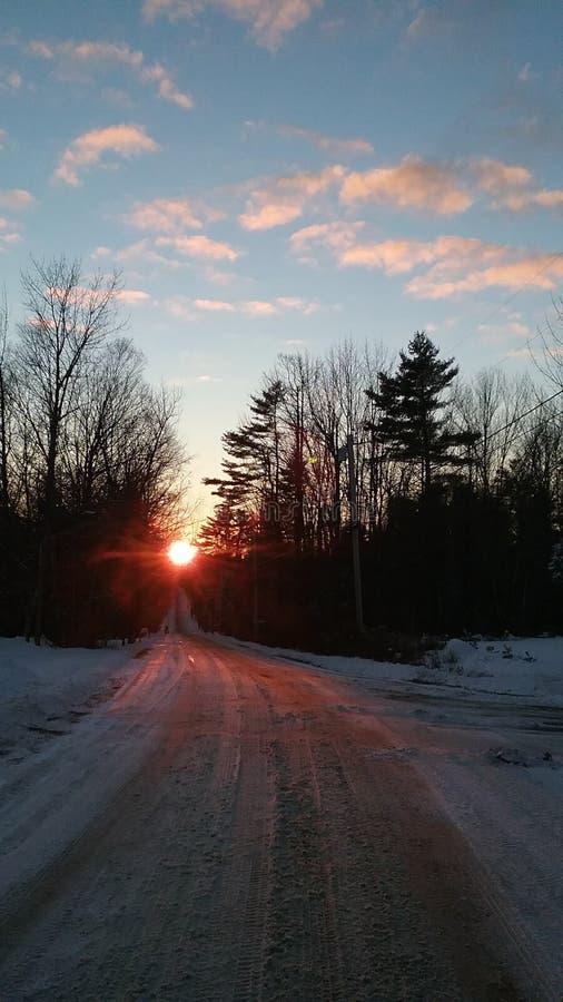 Puesta del sol en Hallowell imagenes de archivo