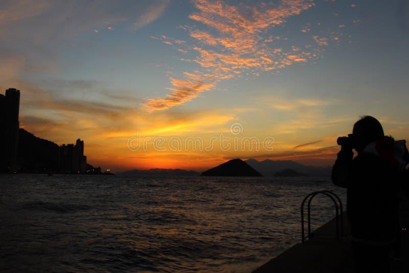 Puesta del sol en Hong-Kong fotografía de archivo libre de regalías