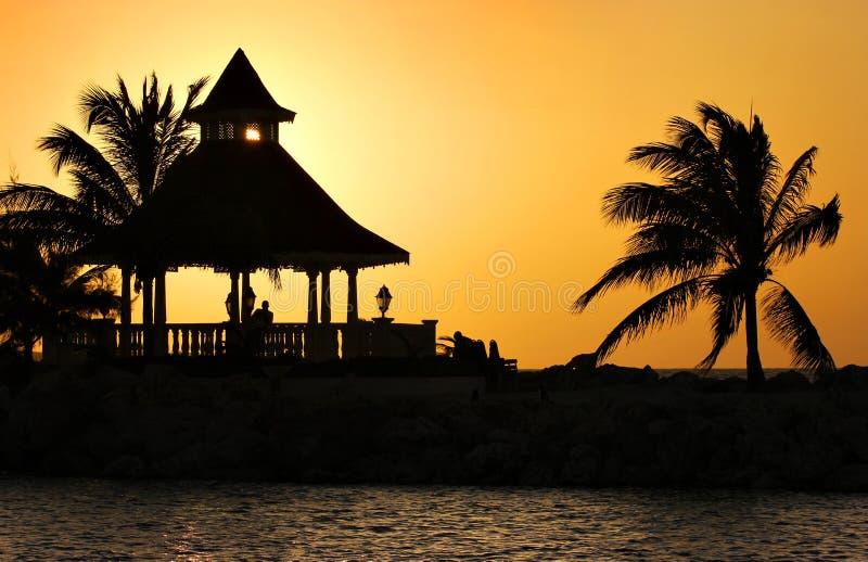 Puesta del sol en Jamacica fotos de archivo libres de regalías