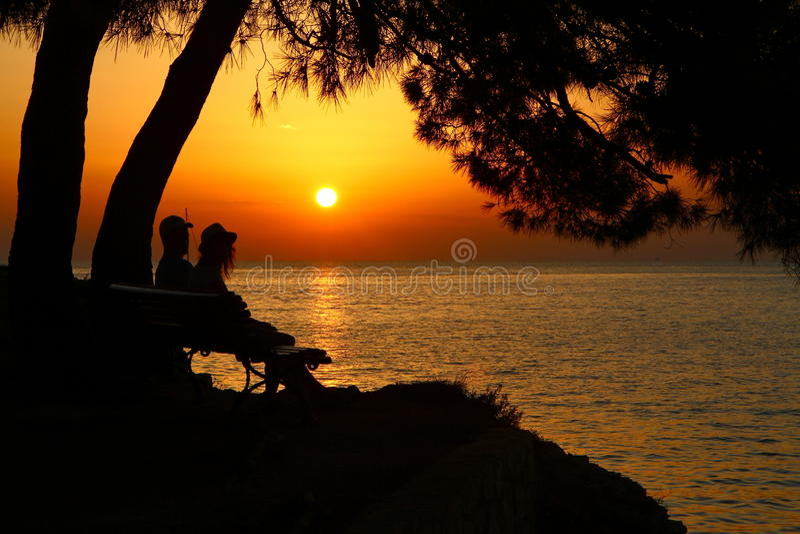 Puesta del sol en Kroatia foto de archivo libre de regalías