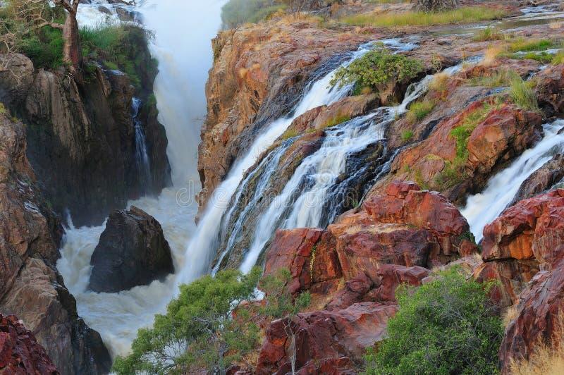 Puesta del sol en la cascada de Epupa, Namibia imagen de archivo