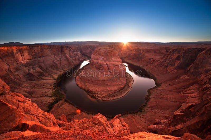 Puesta del sol en la curva de las herraduras fotografía de archivo libre de regalías