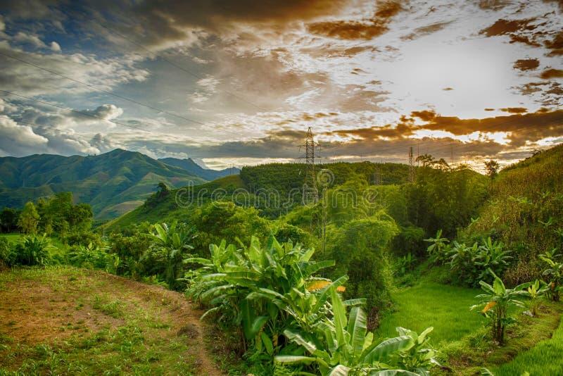 Puesta del sol en la leva de Phieng, Muong La, Son La, Viet Nam foto de archivo libre de regalías